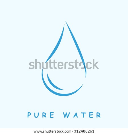 Pure water logo, 2d vector icon on light blue background, eps 8 - stock vector