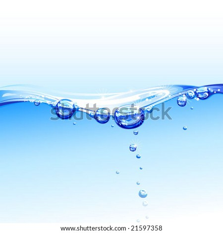 purity water with bubbles - stock vector