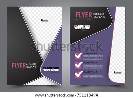Purple Black Flyer Template Design Brochure Stock Vector Hd Royalty
