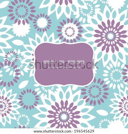Purple and blue floral abstract frame seamless pattern background - stock vector