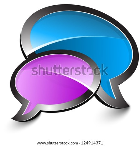 Purple and blue talk balloons isolated on a white background - stock vector