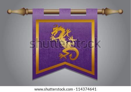 Purple and gold medieval banner flag with cloth texture and symbol of a dragon - stock vector