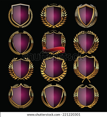 Purple and gold shield design - stock vector