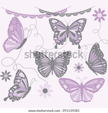 Purple and Grey Butterfly.Butterfly Silhouette,Flower,Lace Border.