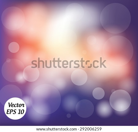 Purple and orange abstract background with bokeh. Vector Illustration. - stock vector