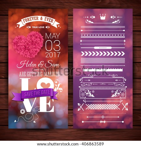 Purple and pink save the date getting married love stationery with extra icons, frames and borders over rendered wooden background - stock vector