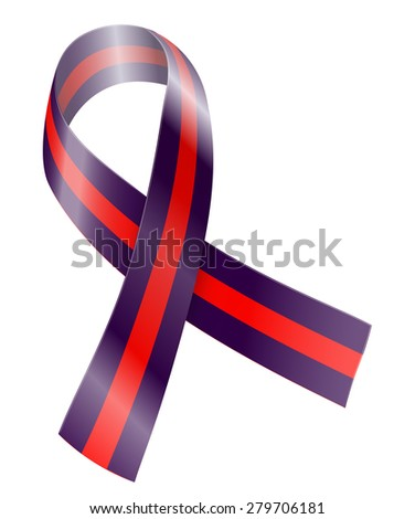 Purple and red ribbon. Chronic migraine awareness symbol. Vector illustration - stock vector