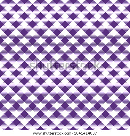 Purple And White Gingham Tablecloth Pattern. Diagonal Rhombus Squares  Texture