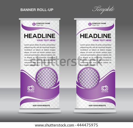 Purple and white Roll up banner stand template vintage vector design, advertisement, display,flyer - stock vector