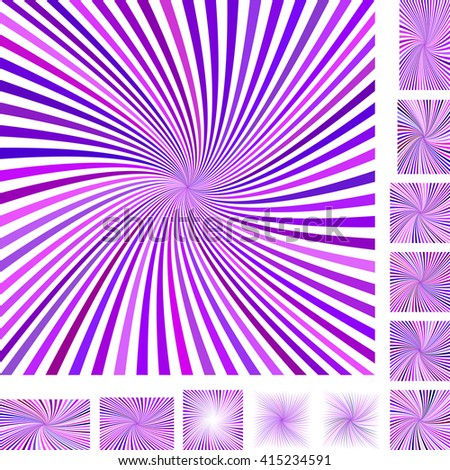 Purple and white vector spiral design background set. Different color, gradient, screen, paper size versions. - stock vector
