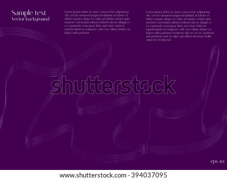 Purple background with lines in the form of ribbons. Blend to design the directory pages, brochures and magazines. The restrained form of the original design - stock vector