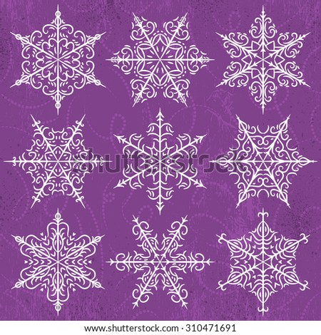 Purple  background with snowflakes, vector illustration - stock vector