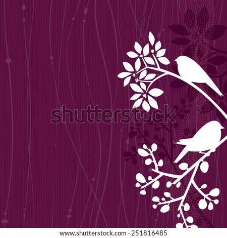 Purple background with white silhouettes of a couple of birds perching in some tree branches. Space for copy/text. Layered vector file, for easy manipulation. - stock vector