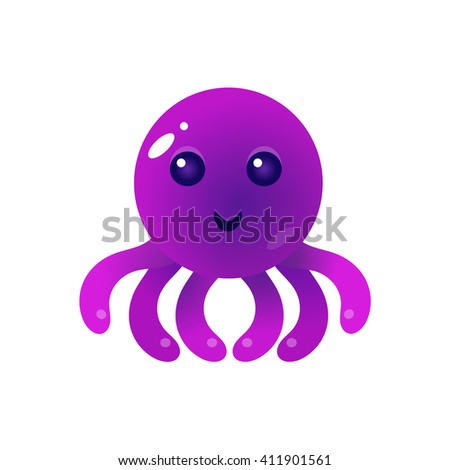 Purple Balloon Octopus Character Flat Isolated Vector Image In Childish Primitive Style On White Background