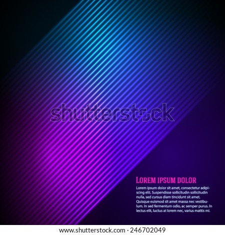 Purple blue abstract background of bright glow perspective with lighting lines. Gorgeous graphic image template. Abstract vector Illustration eps 10 for your business brochure - stock vector