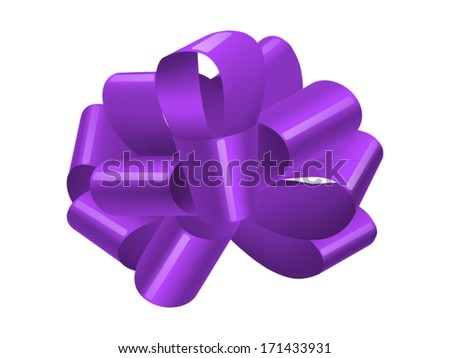 purple bow isolated on white. Vector illustration - stock vector