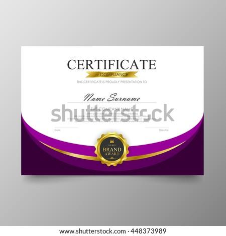 purple certificate template - certificate template awards diploma background vector