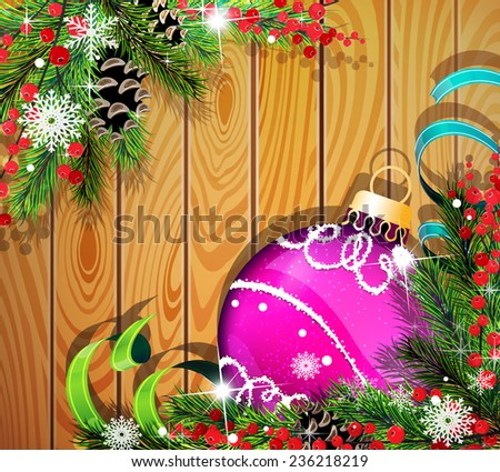 Purple Christmas ball, cones, berries and fir tree branches on wooden background - stock vector