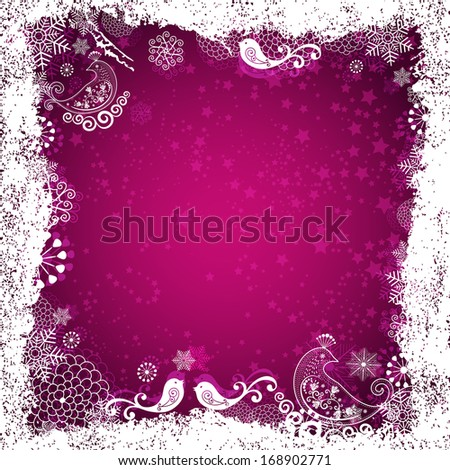 Purple  christmas frame with white birds, snowflakes and stars (vector eps 10) - stock vector