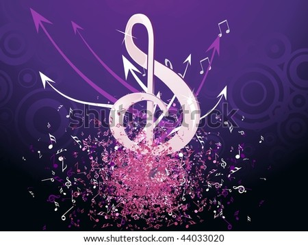 purple circle background with grungy musical notes - stock vector