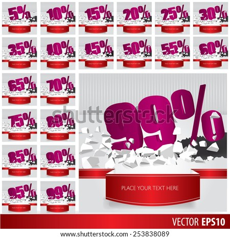 Purple collection discount  5  10 15 20 25 30 35 40 45 50 55 60 65 70 75 80 85 90 95 99  percent  on vector cracked ground on white background - stock vector