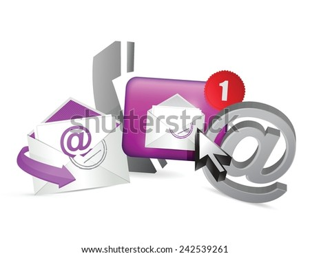 purple contact us icons graphic concept illustration design over a white background - stock vector
