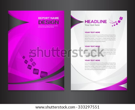 Purple Cover Annual report design vector illustration, brochure flyer, booklet, leaflet, company profile, newsletter, presentation, poster - stock vector