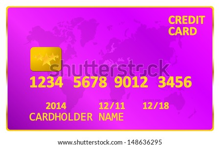 Purple Credit Card - stock vector