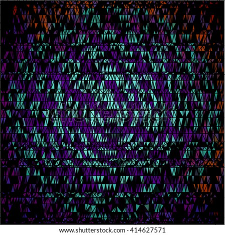 Purple cyan orange triangle on black abstract background
