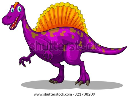 Purple dinosaur with sharp claws illustration - stock vector