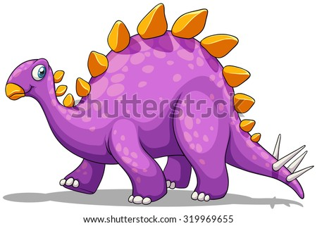Purple dinosaur with spikes tail illustration - stock vector