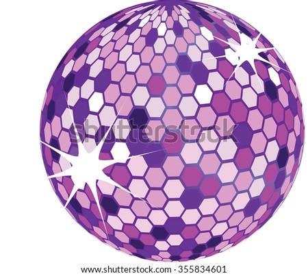 purple disco ball isolated illustration - stock vector