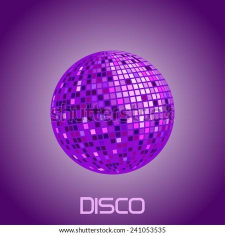 purple disco ball. vector illustration - stock vector