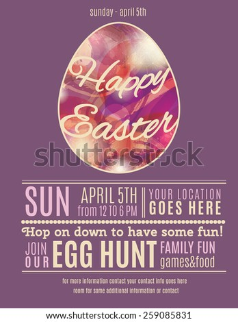 Purple Easter Egg Hunt flyer or poster template with abstract egg illustration - stock vector