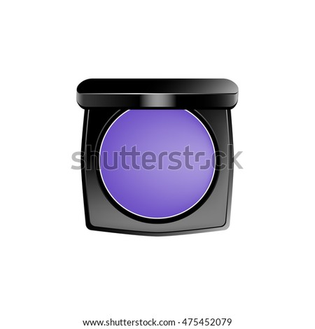 Purple eye-shadows in a black plastic box. Eps 10 vector illustration isolated on white background.