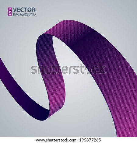 Purple fabric curved ribbon on grey background. RGB EPS 10 vector illustration - stock vector