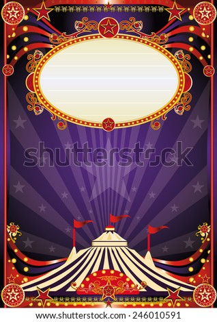 Purple fantastic circus background. A vintage circus background with sunbeams for your entertainment - stock vector