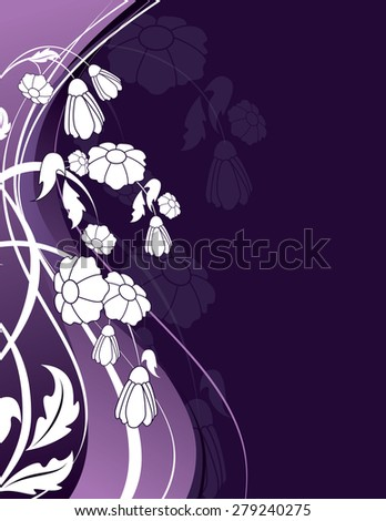 Purple Floral Background with White Flowers. - stock vector