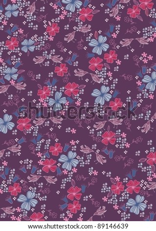 purple floral pattern - stock vector