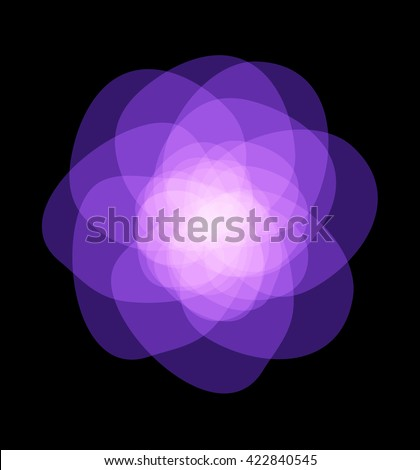 purple flower, abstract vector graphic illustration eps 10 on black background - stock vector