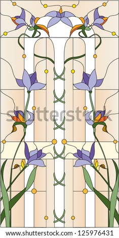 Purple flowers / Stained glass window - stock vector