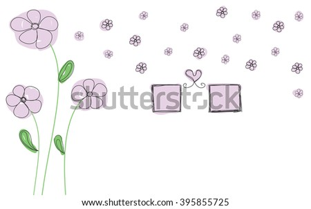 purple flowers with photo frame and heart hand drawn for decorate wall sticker vector - stock vector
