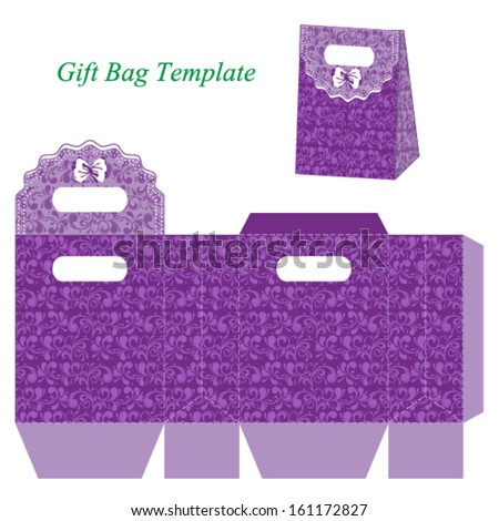 Purple Gift Bag Template Floral Pattern Stock Vector (2018 ...