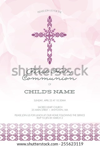Purple Girl's First Holy Communion/Baptism/Christening/Confirmation Invitation with Cross Design & Watercolor Effect Background � Vector - stock vector