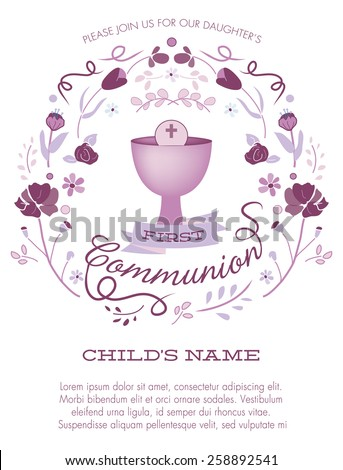 Purple Girl's First Holy Communion Invitation with Chalice and Flowers - Vector  - stock vector