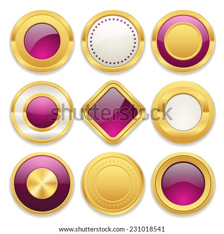 Purple gold badge collection on white background - stock vector