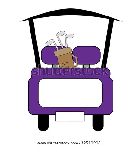 Purple Golf Cart - stock vector