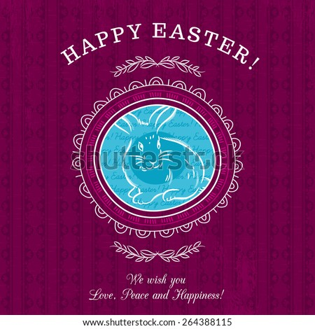 Purple greetings card for Easter Day with roundet frames with one rabbit. There inscription Happy Easter. Decorative composition suitable for invitations, greeting cards, flyers, banners. - stock vector
