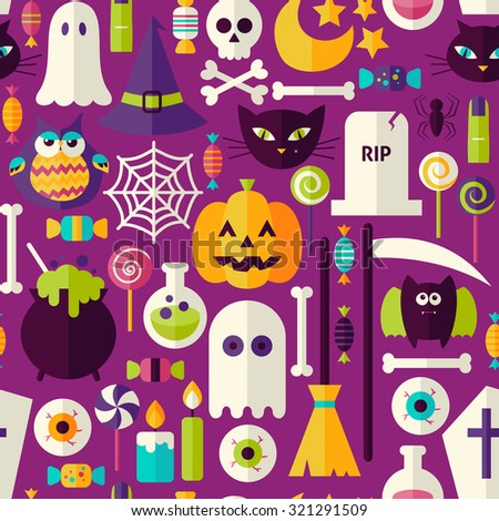 Purple Halloween Trick or Treat Objects Seamless Pattern. Flat Design Vector Seamless Texture Background. Halloween Holiday Template.  - stock vector