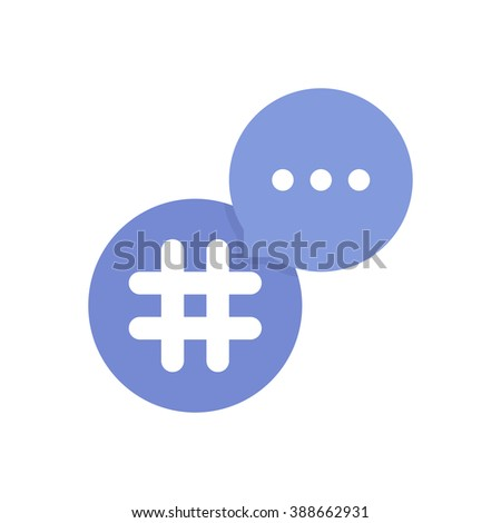 purple hashtag logo with bubble. concept of single mark, grid, lattice, information, pr, popularity, timeline, commerce. flat style trend modern logotype design vector illustration on white background - stock vector